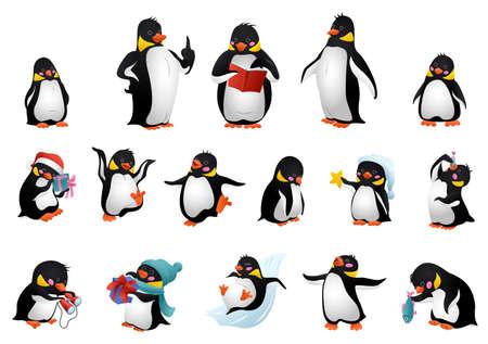 Penguin icons set, cartoon style
