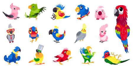 Parrot icons set, cartoon style 일러스트