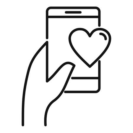 Affection phone sms icon, outline style