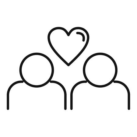 True love couple icon, outline style