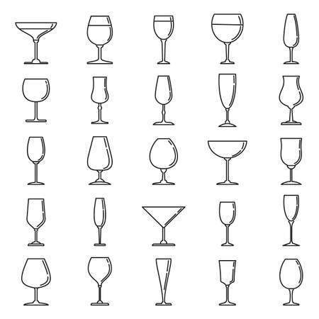 Home wineglass icons set, outline style
