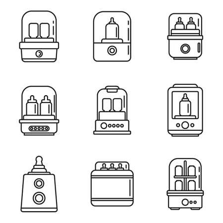 Baby bottle sterilizer icons set, outline style