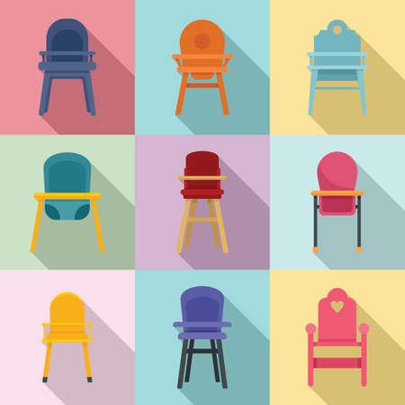 Feeding chair icons set, flat style