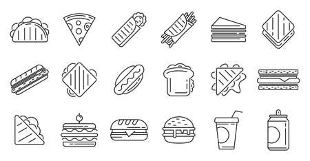 Sandwich bar icons set, outline style