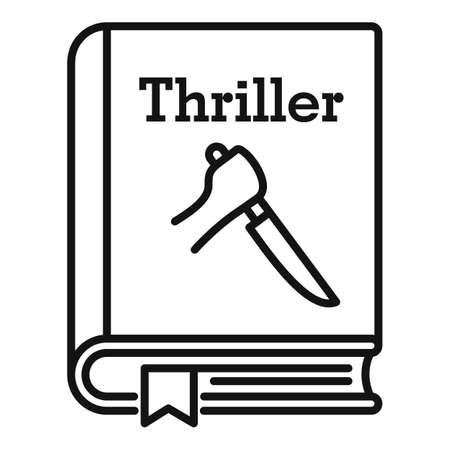 Thriller book icon, outline style Ilustración de vector