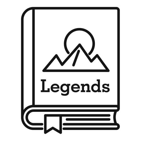 Legends book icon, outline style
