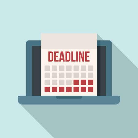 Deadline laptop calendar icon, flat style