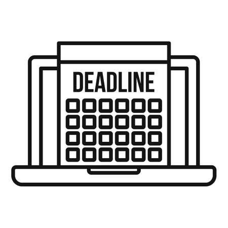 Deadline laptop calendar icon, outline style