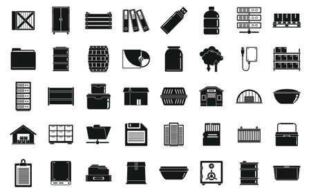 Storage warehouse icons set, simple style