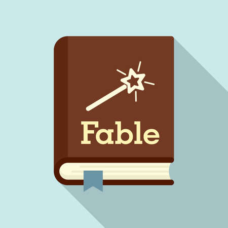 Fable school book icon, flat style