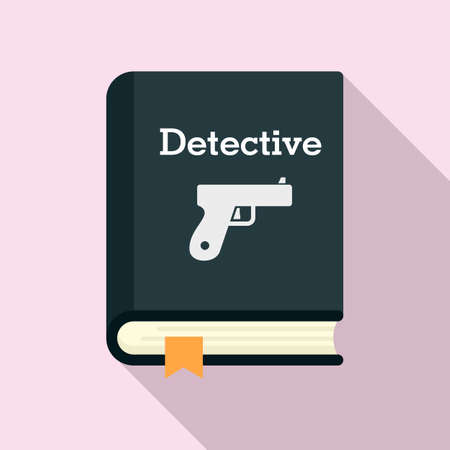 Detective book icon, flat style Vektorové ilustrace