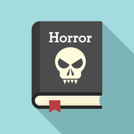 Horror book icon, flat style Vettoriali