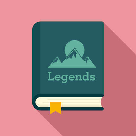 Legends book icon, flat style 矢量图像