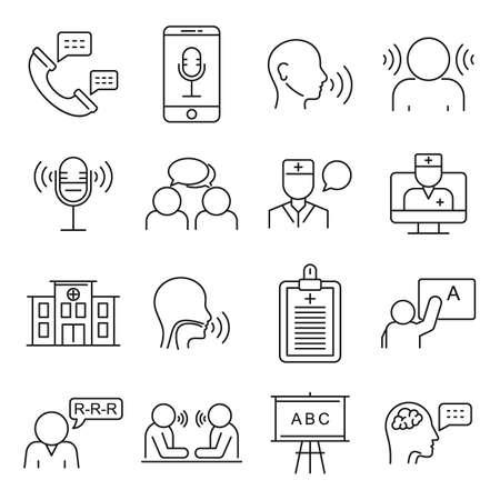 Speech therapist icons set, outline style Vektoros illusztráció