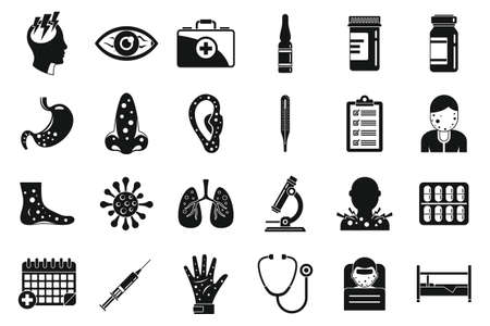 Measles ill icons set, simple style Vettoriali