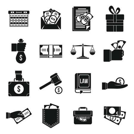 Money bribery icons set, simple style Vector Illustration
