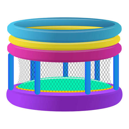 Kids trampoline icon, cartoon style 向量圖像