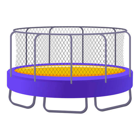 Jumping trampoline icon, cartoon style