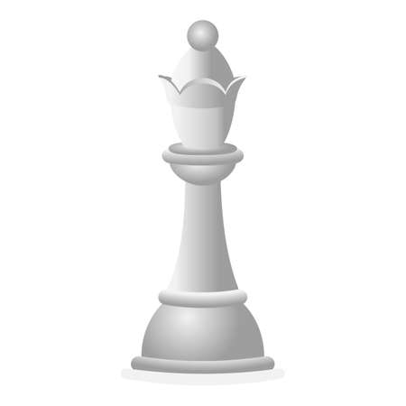 White chess queen icon, cartoon style Vector Illustration