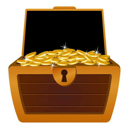 Gold dower chest icon, cartoon style