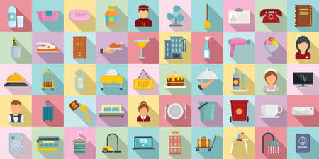 Room service icons set, flat style