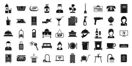 Hotel room service icons set, simple style