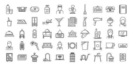 Tourism room service icons set, outline style Illustration