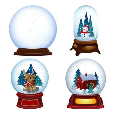 Snowglobe icons set, cartoon style