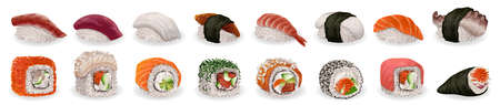 Sushi roll icons set, cartoon style