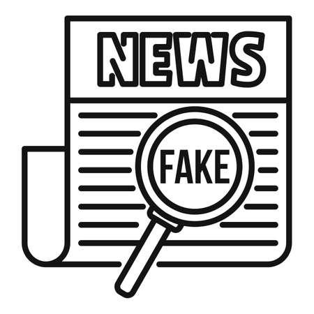 Newspaper fake news icon, outline style Vektorgrafik