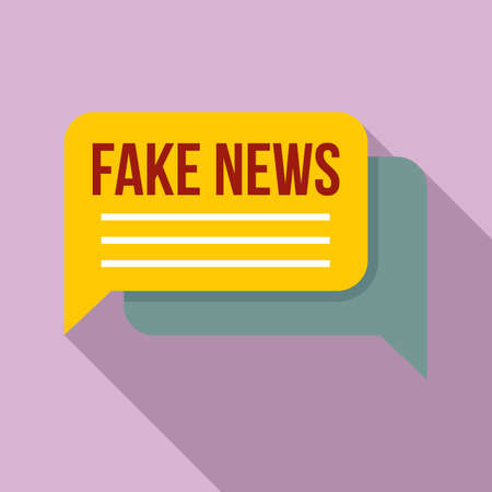 Chat fake news icon, flat style