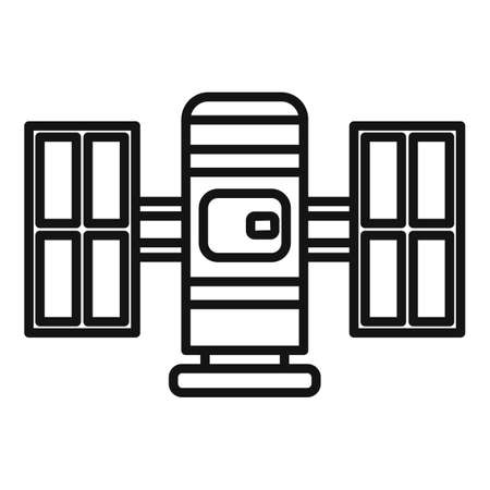 Communication satellite icon, outline style Illustration