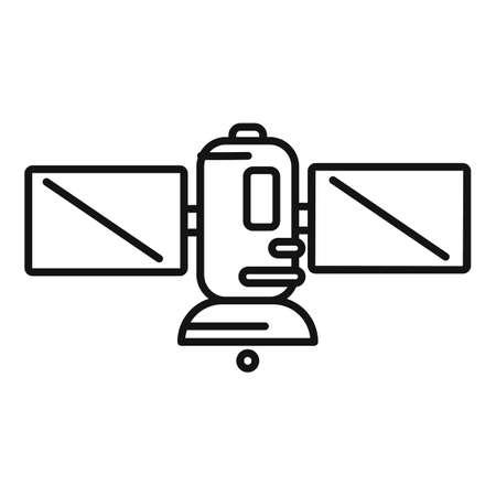 Science satellite icon, outline style 矢量图像