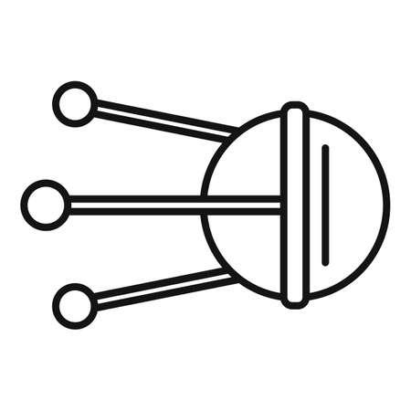 Radar satellite icon, outline style 矢量图像