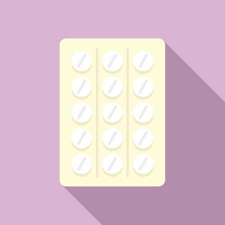 Pill pack icon, flat style