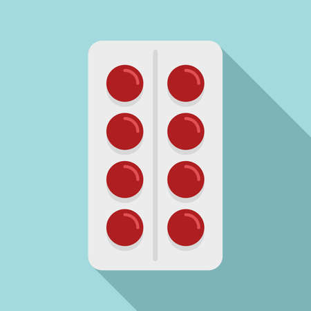 Vitamin pill pack icon, flat style