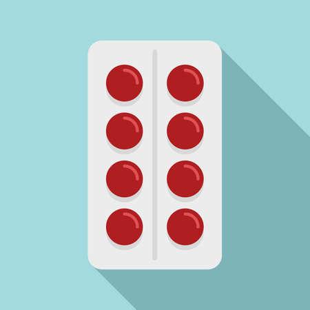 Vitamin pill pack icon, flat style 矢量图像