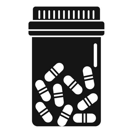 Antibiotic pill jar icon, simple style