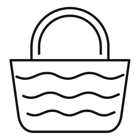 Woman beach bag icon, outline style