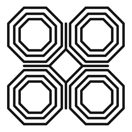 Ornamental paving icon, outline style 矢量图像