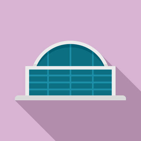 Airport glass building icon, flat style