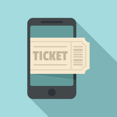 Smartphone ticket buy icon, flat style Vettoriali