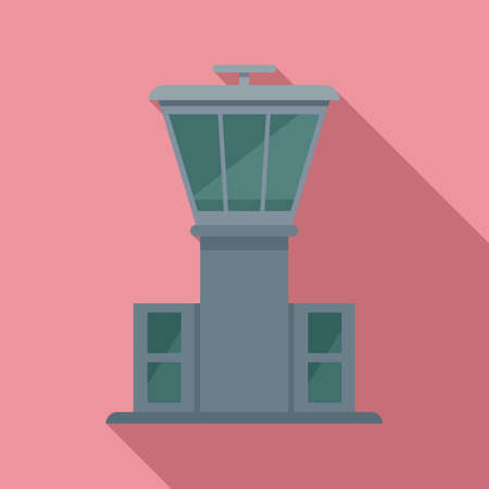 Airport tower icon, flat style 矢量图像