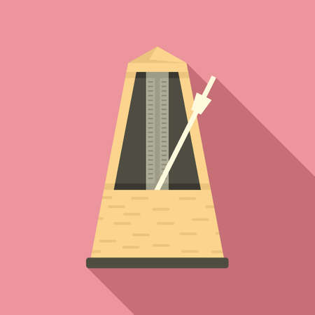 Instrument metronome icon, flat style 矢量图像