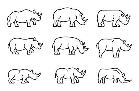 Rhino icons set, outline style
