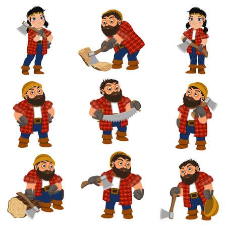 Lumberjack icons set, cartoon style
