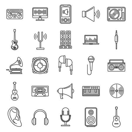Acoustics audio icons set, outline style