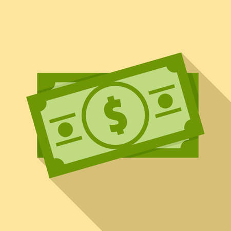Dollar cash icon, flat style
