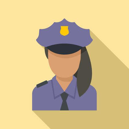 Police woman border icon, flat style