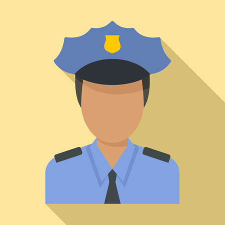 Airport police officer icon, flat style 矢量图像